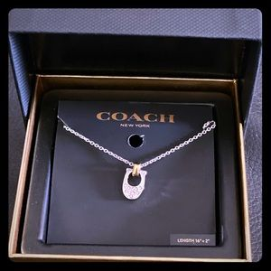 Coach Pave signature C necklace in silver